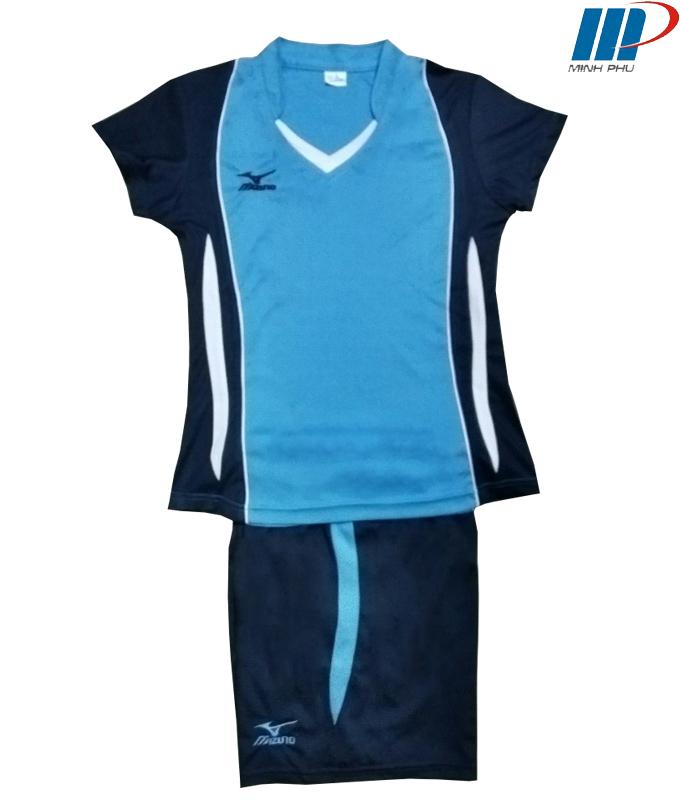 Quần áo bóng chuyền Mizuno xanh