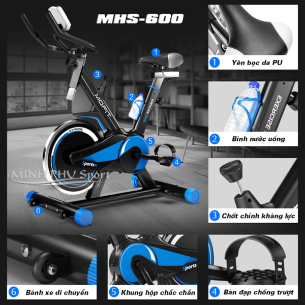 Chi tiết xe đạp tập MHS-600