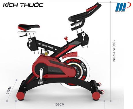 Xe đạp tập BK 3000 PRO - kích thước