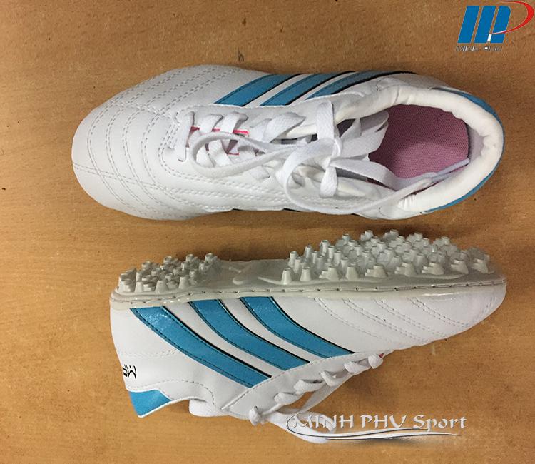 giày bóng đá 3 sọc trắng xanh