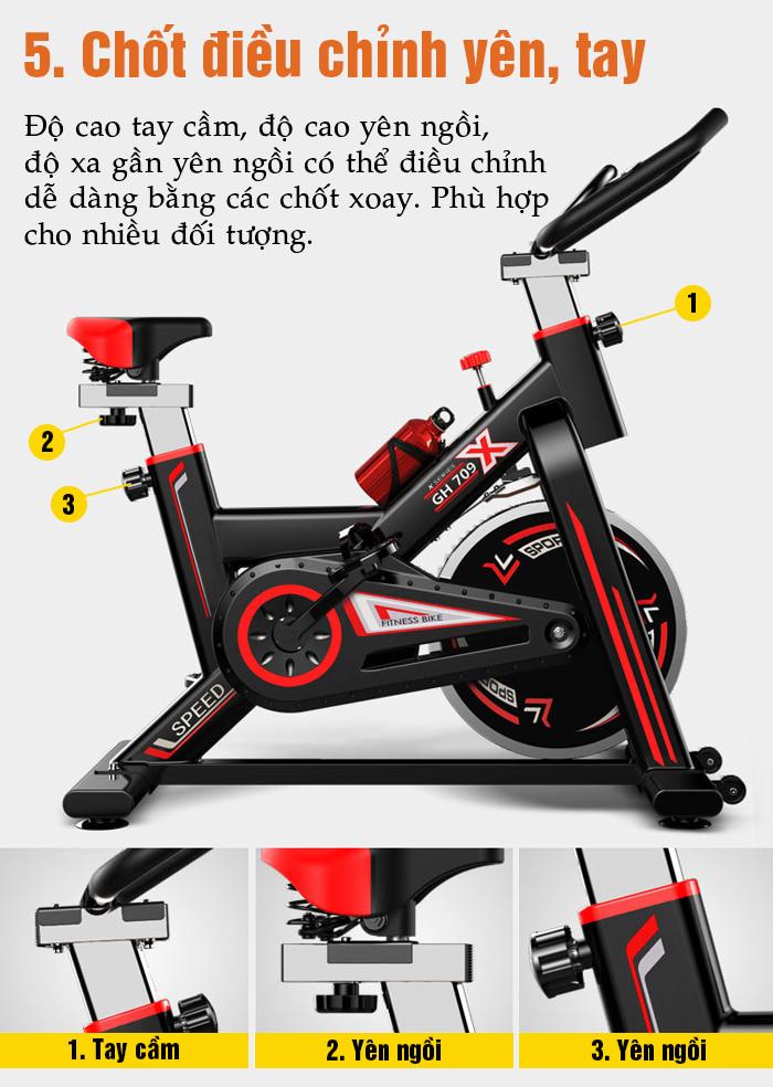 Tăng chiều cao xe đạp tập thể dục GH-709