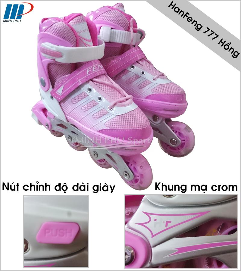 giày trượt patin Hanfeng 777 hồng