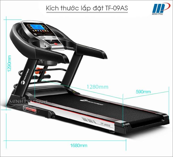 Máy chạy bộ điện Tech Fitness TF-09AS kích thước