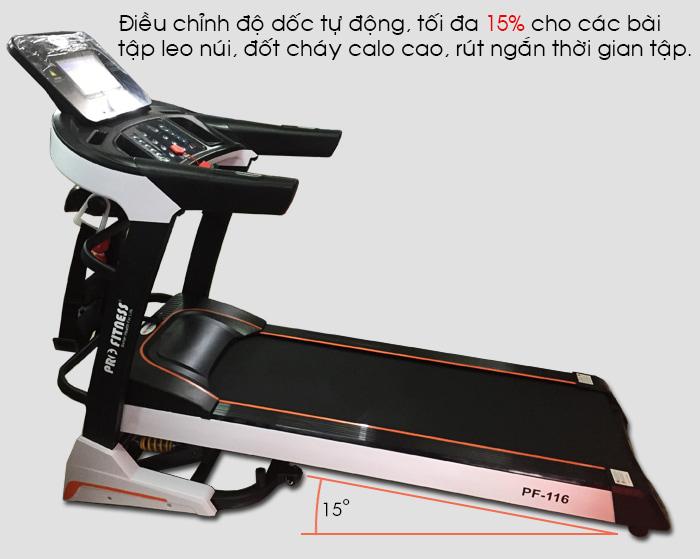 Máy chạy bộ điện Pro Fitness PF-116 độ dốc