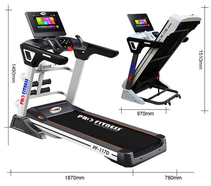 kích thước máy chạy bộ điện Pro Fitness PF-117D