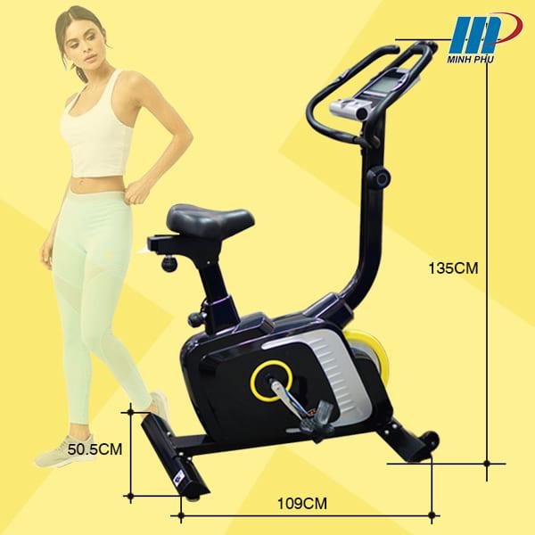 kích thước xe đạp tập thể dục DLE-42811B