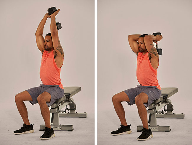 bài tập Seated Dumbbell Overhead Triceps Extension