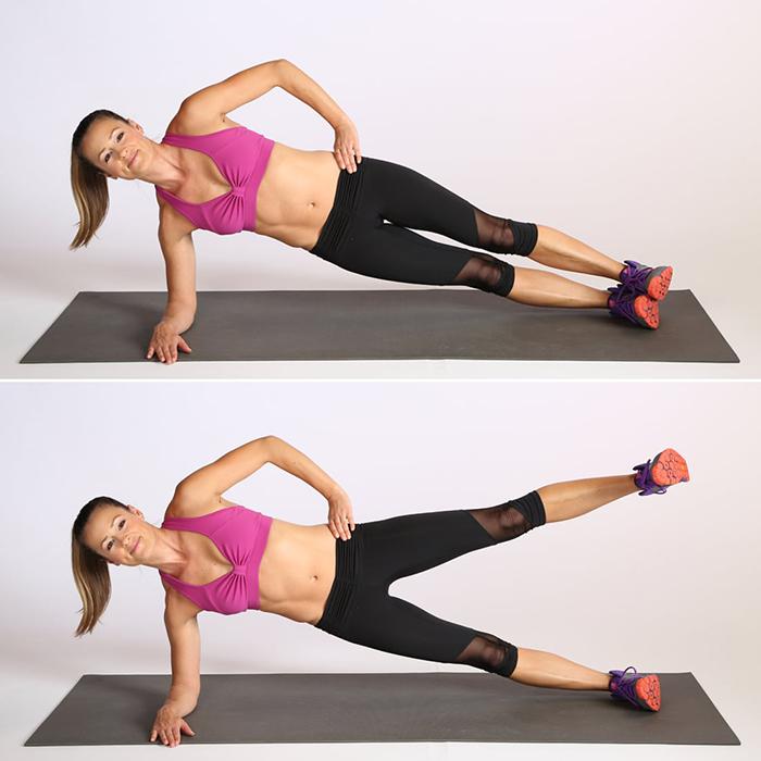 Plank nghiêng kết hợp đá chân